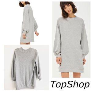 TopShop Gray Balloon Sleeve Sweatshirt Dress